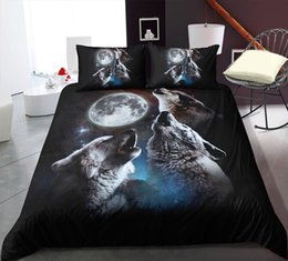 wolf duvet covers UK - Cover Queen Night Full Set Single Duvet Mysterious 3D Pillowcase Full Wolf Twin 3pcs Bedding Moon Double Single Cover With Size Bed Ruqpx
