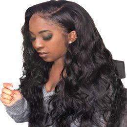 Large Sized Wigs NZ - Body Wave Human Hair Wigs Bleached Knots Full Lace Wigs Brazilian Malaysian Medium Size Swiss Lace Cap Lace Front Wigs