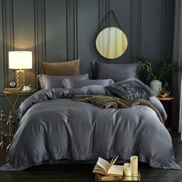 $enCountryForm.capitalKeyWord Australia - 60S Tencel Pure color bed linen set high-grade Silk bedding sets bedclothes queen king size duvet cover sheet set 4Pcs