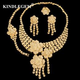 $enCountryForm.capitalKeyWord Australia - wholesale Luxury Flower Parure Bijoux Femme Dubai Gold Necklace Sets Fashion Indian African Beads Jewelry Set For Women Bridal
