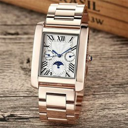 Roses Butterflies NZ - All Subdials Work Brand Moon Sunshine Luxury Watches Mens Rose Gold Butterfly Watches Diamond Designer Wristwatch Leather Watch Square Dial