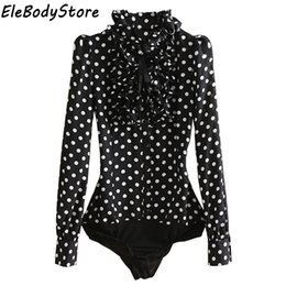 $enCountryForm.capitalKeyWord NZ - Body Blouse Women 2019 Bodysuit Blouses Shirt Feminina Shirts Blusas Mujer Ruffle Black Polka Dot Chiffon Long Sleeve Clothes Y190817