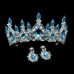 $enCountryForm.capitalKeyWord UK - rown headband Fashion Beauty Sky Blue Crystal Wedding Crown And Tiara Large Rhinestone Queen Pageant Crowns Headband For Bride Hair Acces...