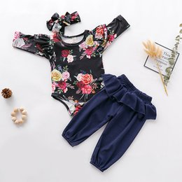 baby ruffle floral romper NZ - Baby Girl Clothes Newborn Toddler Sets Outfit Ruffled Floral Romper Bodysuit Pants Headband 3PC kit Dropshipping roupa infantl