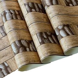 Wood Paper Roll Australia - 10m PVC Vintage Wall Paper Waterproof 3d Stone Wallpaper Eco-Friendly Paper 3D Wall Panels Vinyl Wood Wallpaper Roll for Walls