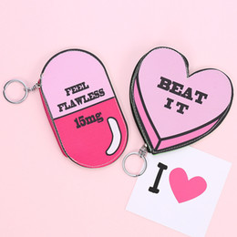 Heart Shaped Handbags Wholesale Australia - Girls Pink Handbag 2 Designs Heart Shaped Coin Purse Cartoon Key Bag PU Pill-shape Key Ring 100 Pieces DHL
