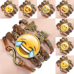 $enCountryForm.capitalKeyWord Australia - Multi-layer Creative Gift Unisex Emoji Bracelet Party Favor Artificial leather Bracelets Accessories Alloy Retro Bracelet Rope Chain M433Y