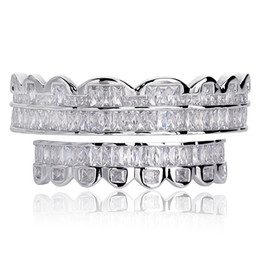 New Baguette Set Teeth Grillz Top & Bottom Silver Color Grills Dental Mouth Hip Hop Fashion Jewelry Rapper Jewelry on Sale