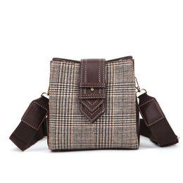 e161a3cc19 New small bag female 2018 new fashion south Korean version woollen cloth  bucket bag all-matching wide shoulder belt single