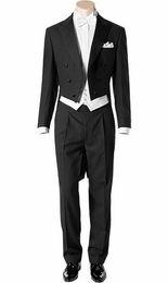 ClassiC tuxedo styles online shopping - Tailcoat Morning Style Groomsmen Peak Lapel Groom Tuxedos Men Suits Wedding Prom Dinner Best Man Blazer Jacket Pants Tie Vest G268