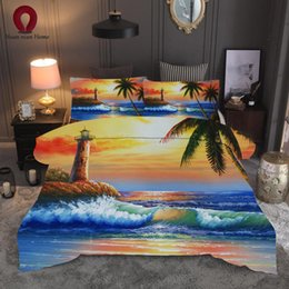 Discount ship bedding sets - Bedding oil painting sea coconut tree set sheets 3 piece set duvet cover color sheets quilt cover 2019 free shipping