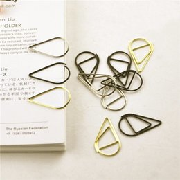 Pack Supplies Australia - 12 Pcs pack 6 Colors Brief Style Waterdrop Shaped Metal Paper Clip Bookmark Stationery School Office Supply Papelaria