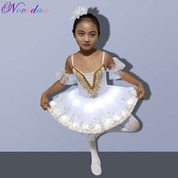 swan lights 2019 - Professional LED Light White Swan Lake Ballet Tutu Kids Costume Ballerina Dress Kids Halloween Dress Costume Club Party
