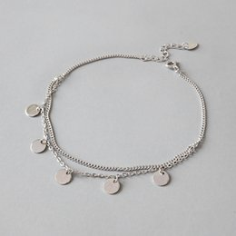 Disc Bracelet Australia - Bohi Authentic 925 Sterling silver geometric smooth Lucky Round Disc Coin Anklet Bracelet tassel Adjust fine Jewelry TLS122