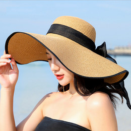 Large bLack fLoppy sun hat online shopping - Summer Large Brim Straw Hat Floppy Wide Brim Sun Cap Bowknot Beach Foldable Hats New Hats for Women
