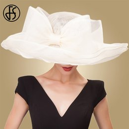 men wedding hats NZ - FS Elegant Black Beige White Linen Wedding Hats Bowknot Womens Hat Ladies Large Wide Brim Chapeau Fedora