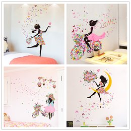 fairy stickers for girls bedroom Australia - Fairy Girl Wall Stickers DIY Butterflies Mural Decals for Kids Room Baby Bedroom Dormitory Decoration Children Gift
