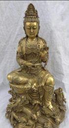 "$enCountryForm.capitalKeyWord Australia - COPPER STATUEL 15"" China Pure Brass 2 Dragon Lotus Kwan-Yin Buddha QuanYin Pot Statue Joss"