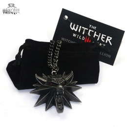 $enCountryForm.capitalKeyWord Australia - On Line Game The Witcher 3 Necklaces Wild Hunt Medallion Pendant And Chain Necklace For Men 1 Bag 1 Card Wolf Kolye