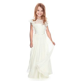 Flowers Girl Dresses Wedding UK - Flower Girl Lace White ivory Girls Bridesmaid Gowns Party Wedding Prom Pageant First Communion Dresses Children Clothing J190620