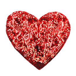 $enCountryForm.capitalKeyWord Australia - 28CM Sequins Red Heart Sew On Patches Bling Embroidery Badges Shiny For Dress Bag Jeans T Shirt DIY Appliques Craft Decoration