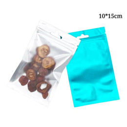 clear plastic for food NZ - 10*15cm Blue Zip Lock Package Gift Bags with Hanger Holder 100pcs Clear and Colorful Heat Seal Zipper Plastic Pouches Bags for Dry Food and