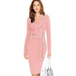 8263ffa245e Женщин старинные осень карандаш Платье для Леди мода с длинным рукавом  тонкий костюм воротник сплошной цвет лоскутное бизнес платья