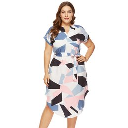 $enCountryForm.capitalKeyWord Australia - Size Plus Elegant Women Summer V Neck Beach Tunic Long Dresses Geometric Color Block Print Sexy Bohemian Sashes Vestidos designer clothes
