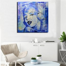blue floral canvas wall art NZ - My Blue Marilyn Monroe Collage HD Art Canvas Poster Painting Wall Picture Print Home Bedroom Decoration Framework