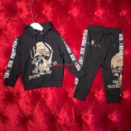 Boy linen suits online shopping - Boy suit children s designer clothing autumn skull hot drilling element hooded sweater trousers cotton fabric comfortable boy set