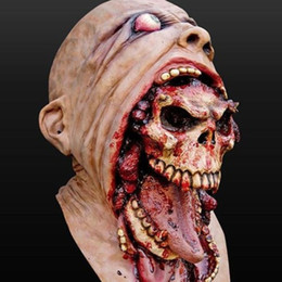 mask horror zombie Australia - Latex Zombie Halloween Mask Melting Horror Costume Dead Scary Head Masks Bloody SH190922