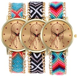leather woven rope bracelet watch Australia - fashion colorful women Dream catcher Chaser wool bracelet watch wholesale ladies leisure dress weave rope quartz wrist watches