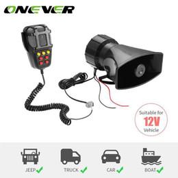 12v car siren horn 2019 - Car Siren Alarm Speaker Holder Tone Sound Car Recording Emergency Siren Horn Mic PA Speaker System Hooter discount 12v c