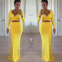 short tight black party dresses UK - Sexy African Black Girls Yellow Prom Dresses Long Sleeve 2020 Two Pieces Tight Formal Evening Gowns Party Dress