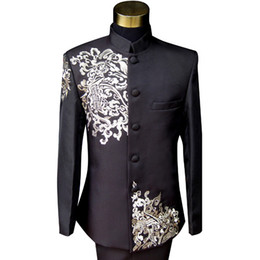 China Satin Handmade Embroidery Groom Tuxedos Black Mens Designer Formal Suits Wedding Prom Party Man Blazer (Jacket+Pant) supplier classic designers tuxedos suppliers