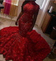 Rose Flower Images Red White Australia - Stunning Red Mermaid Prom Dresses 2019 High Neck 3D Rose Flowers Floral beading Sweep Train Evening Gowns Plus Size Red Carpet Dresses