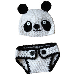 crochet baby animal outfits UK - Adorable Baby Panda Bear Newborn Outfit,Handmade Knit Crochet Baby Boy Girl Animal Panda Beanie Diaper Cover Set,Infant Halloween Photo Prop