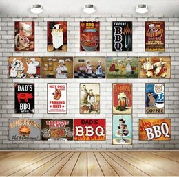 wholesale antique tin signs UK - Dad's BBQ Tin Signs Metal Plate Wall Pub Kitchen Restaurant Home Art Decor Vintage Wall Sticker Cuadros DHL Free 400 016