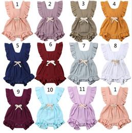 Pretty girls clothes online shopping - 11 styles Pretty Summer Newborn kids designer clothes girls Summer Bodysuit Lotus Ruffle Sleeve Climb Romper Solid Jumpsuit For M