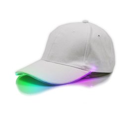 Discount glow dark ball green - Fashion LED Lighted Up Baseball Caps Men Women Hip-Hop Adjustable Sports Solid Glow Hat Luminous Night Party cycling Run