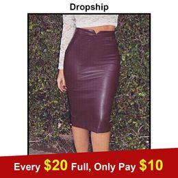 $enCountryForm.capitalKeyWord NZ - wholesale Skirt Leather Leather Skirts Womens Black Plus Size High Waist Midi Streetwear PU Bag Plus Velvet Autumn Winter 2019