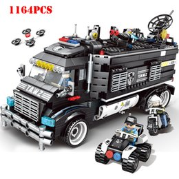 Build Toy Helicopter Australia - City Police Station Command Truck Helicopter Building Blocks Compatible Legoings Technic Bricks Educational Toys For children