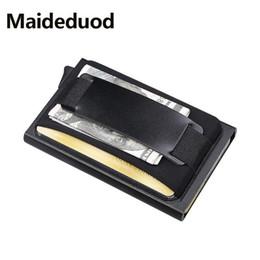 Metal Wallet Card Australia - Maideduod Men Women Business Credit Card Holder Pop Up PU Leather Card ID Holder RFID Card Wallet Buckle Aluminium Metal Wallet