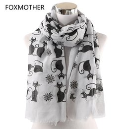 Gifts for cat lovers online shopping - FOXMOTHER New Vintage Pink White Cat Foulard Femme Animal Cat Scarves For Lover Mother Gifts Scarfs Dropshipping