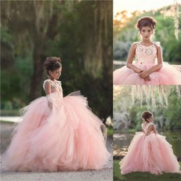 $enCountryForm.capitalKeyWord UK - Country Style Puffy Skirt Pink Ball Gown Flower Girls Dresses 2019 Straps Lace Top Layers Backless Girls Toddler Infant Pageant Gowns