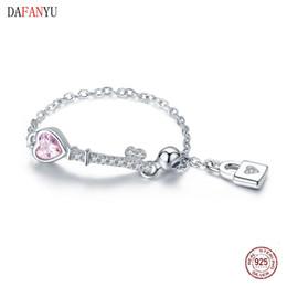 $enCountryForm.capitalKeyWord Australia - DAFANYU Trendy New 925 Sterling Silver Love Heart Lock Key Chain Rings for Women Wedding Engagement Jewelry Anel
