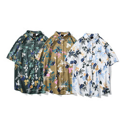 bird print collar shirt NZ - Men's casual shirt fashion beach style design short-sleeved flowers and birds pattern printing shirt Men's clothing wholesale