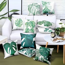 $enCountryForm.capitalKeyWord Australia - 16 Styles Watercolor Painting Green Leaves Cushion Covers Summer Tropical Vibes Cushion Cover Decorative Sofa Throw Polyester Pillow Case