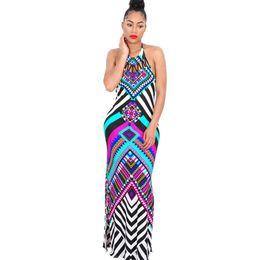 4f36180b86a New Summer Plaid Maxi Dress Women Dashiki Sexy Backless Print Long African  Dress Party Bodycon Bohemian Beach Dresses Y190507