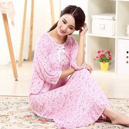 ladies cotton gowns 2020 - Spring Summer Autumn Lady Pure And Fresh Small Broken Flower Modale Knit Cotton Long Royal Princess Sleepwear Gown Home